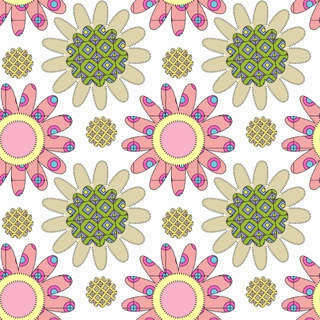 decorative seamless pattern with flowers and colorful elements Vector