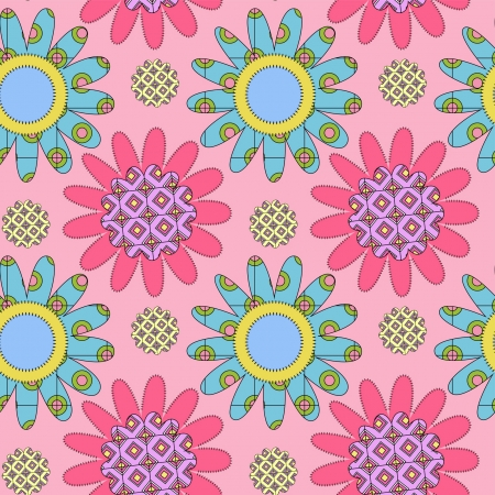 pink seamless decorative ornament with colorful daisies Stock Vector - 15149591