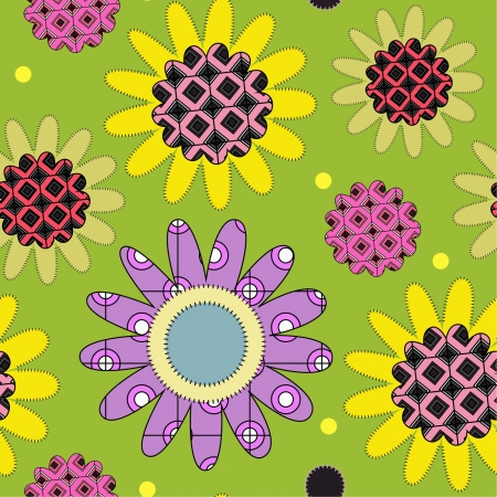 decorative seamless pattern with daisies and colorful elements Vector