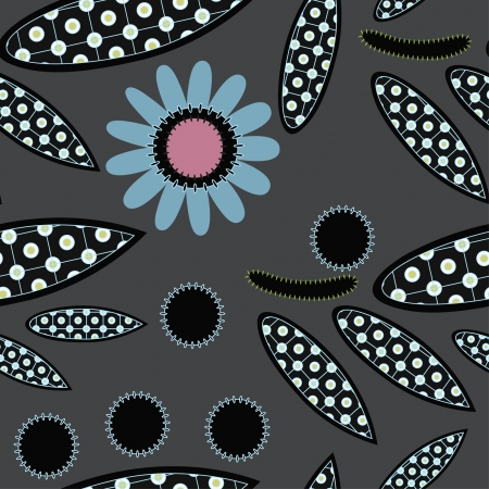 seamless black floral ornament Vector