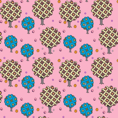 decorative seamless pattern on pink background with decortive autumn garden Stock Vector - 15350367
