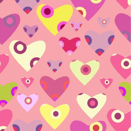 decorative ornamented hearts pattern on pink background Stock Vector - 15350257