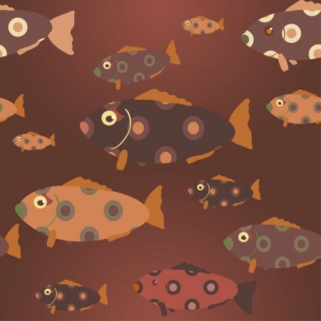 brown seamless pattern with beautiful fishes Stock Vector - 15350217
