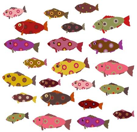 set of cute decorative fish
