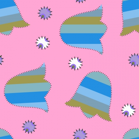 seamless patchwork ornament with bluebells on pink background Vector