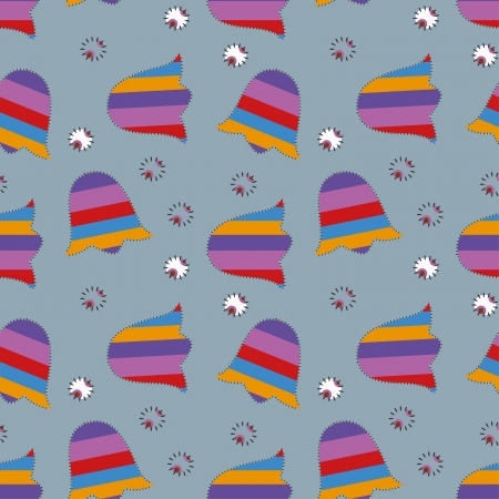 seamless patchwork ornament with bluebells Vector