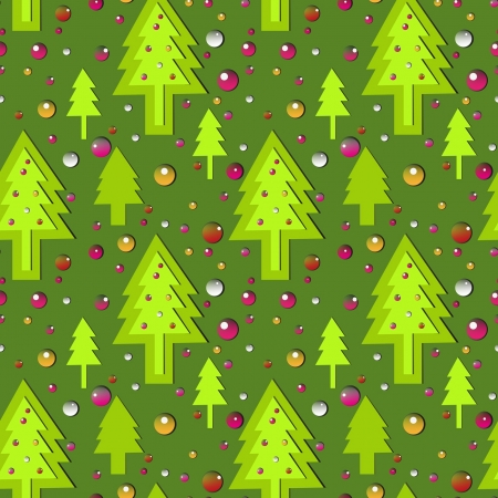 seamless new year patternon green background Illustration