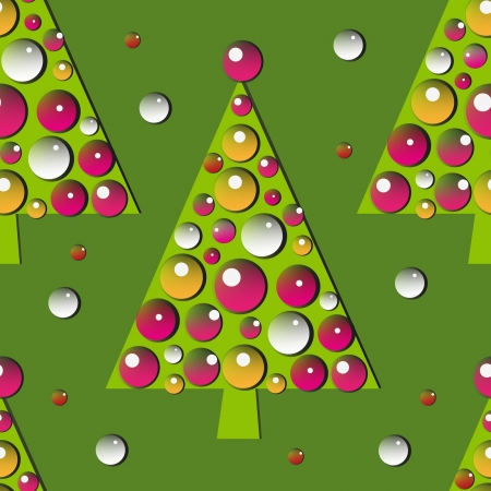 seamless pattern with green decorated new year tree