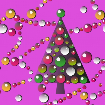 christmass: New Year Tree with garlands seamless pattern Illustration