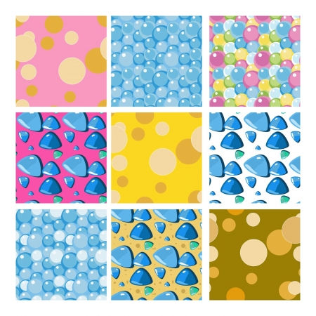 set of decorative seamless ornaments with stones and bubbles Stock Vector - 15809540