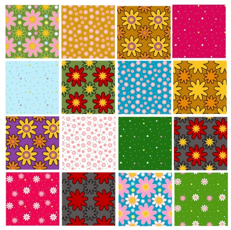 set of bright colorful floral patterns