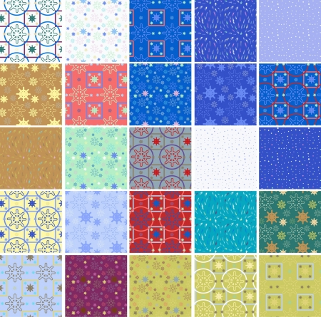 navy blue background: set of seamless winter patterns Illustration