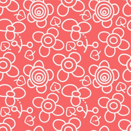 red and white seamless floral pattern Vector