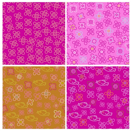 set of four pink seamless patterns Vector