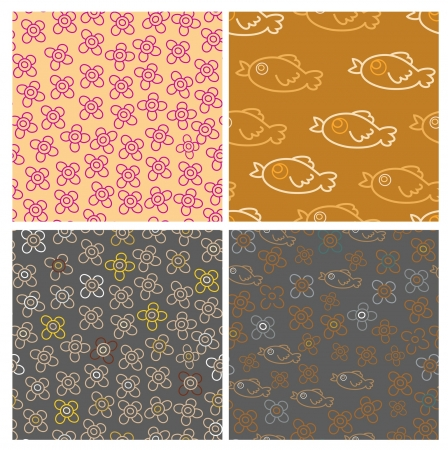 set of four natural seamless patterns