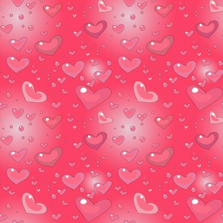 pink cartoon seamless pattern with hearts, romantic style Stock Vector - 17569828
