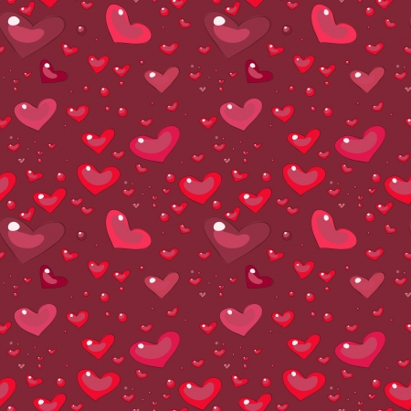 cartoon seamless pattern with hearts, romantic style, Stock Vector - 17569829