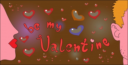 comic Valentine lettering with two young people Stock Vector - 17569846