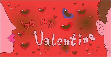 comic Valentine lettering with two young people Stock Vector - 17569850