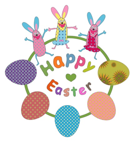 funny bunnies and Easter greeting Vector