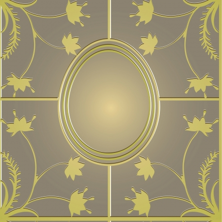 baroque gate: seamless golden  Easter pattern with flowers Illustration