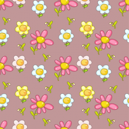 seamless decorative pattern with funny flowers