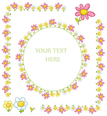 set of floral frames for greeting cards Vector