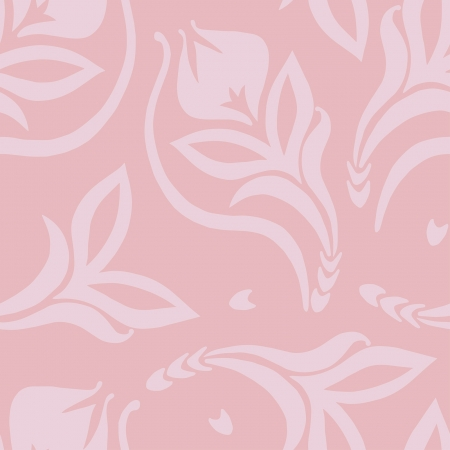 seamless decorative pattern with pink plants Vector