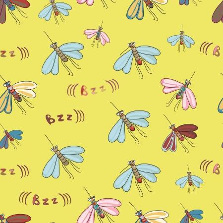 mosquitos: funny seamless ornament with cartoon mosquitos