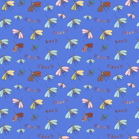 mosquitos: seamless pattern with decorative bright mosquitos