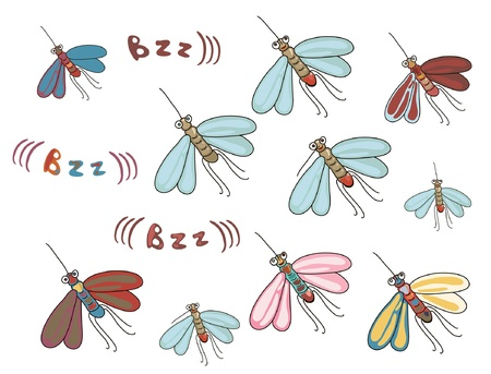 mosquitos: set of funny cartoon mosquitos with different letterings and colors