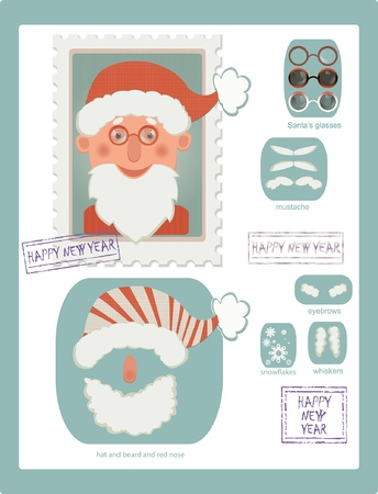 fake nose and glasses: illustration of stamp with Santa and many details for changing his image