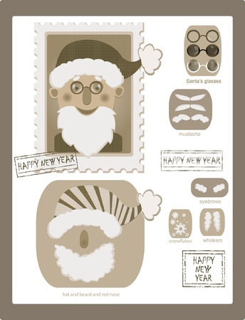 fake nose and glasses: Retro styled illustration with image of Santa on stamp and many different details to change his image Illustration