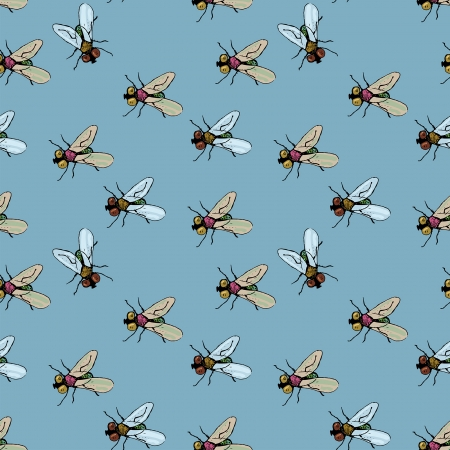 decorative seamless  pattern with flies Illustration