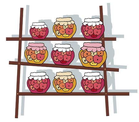 preserves: estante decorativo con latas de mermelada
