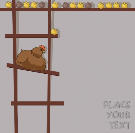 roost: cartoon hen with chicken on ladder