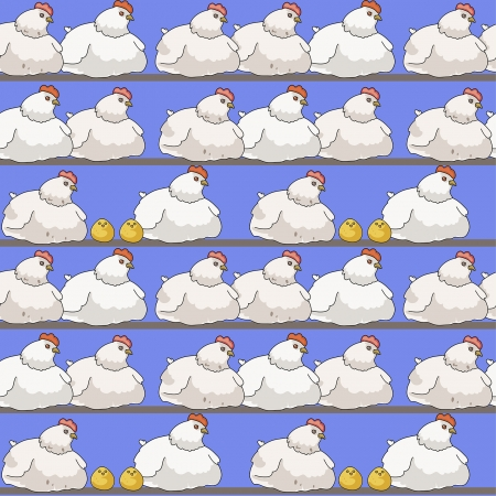 cartoon seamless pattern with chickens and hens Illustration