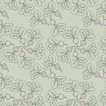 retro styled vegetable seamless pattern with hand drawn beets Vector