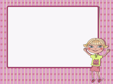 classes schedule: smiling girl with empty text frame Illustration