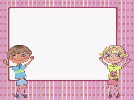 boy and girl with an empty text frame Vector