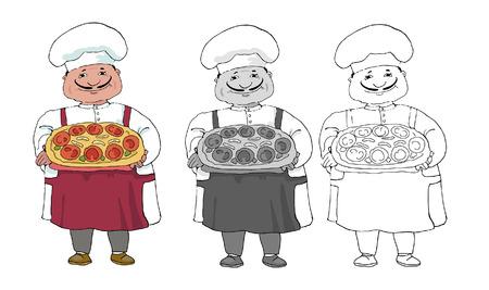 set of three variations of italian coock Vector