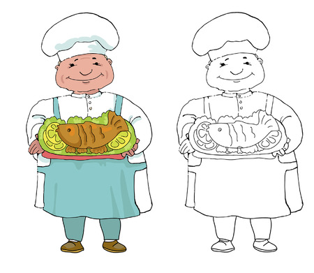 limon: set of two variations of cook with froasted fish Illustration