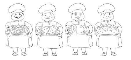 set of four contours of cooks Vector
