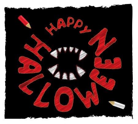 fluorescence: decorative seamless Hallween lettering  Illustration