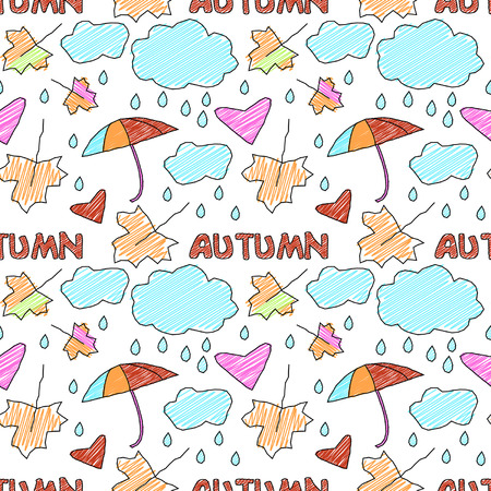 seamless cartoon doodle autumn ornament Vector