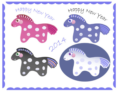 set of little cute New Year horses Vector