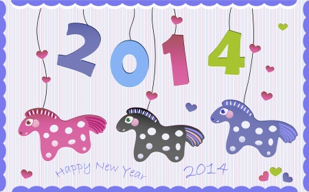 Greeting New Year card with horses