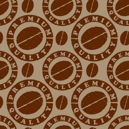 coffee beans: patr�n con los granos de caf� y los sellos de calidad
