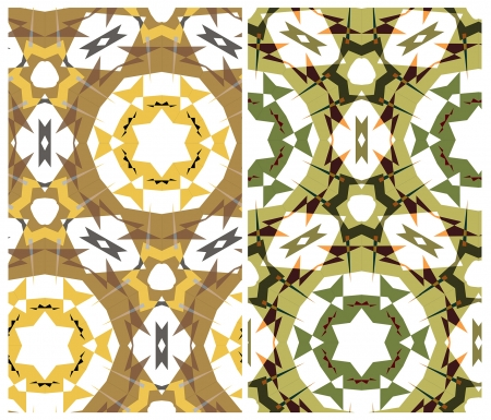 etnic: set of two seamless geometrical patterns in montage style