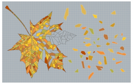 marple: decorative image of mosaic autumn leaf with broken fragments